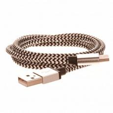 CELLFISH pletený datový kabel z nylonového vlákna, USB-C, 1 m, stříbrná