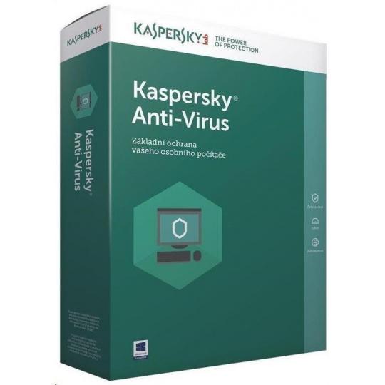 Kaspersky Anti-Virus 2019 CZ, 4PC, 1 rok, obnovení licence, elektronicky