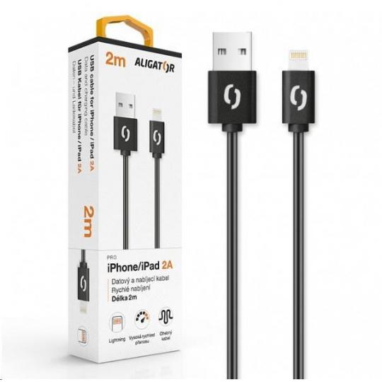 Aligator datový a nabíjecí kabel, konektor Lightning, 2A, 2m, černá