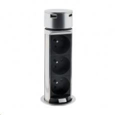 Solight USB výsuvný blok zásuvek, 3 zásuvky, plast, kruhový tvar, prodlužovací přívod 1,5m, 3 x 1mm2, stříbrný