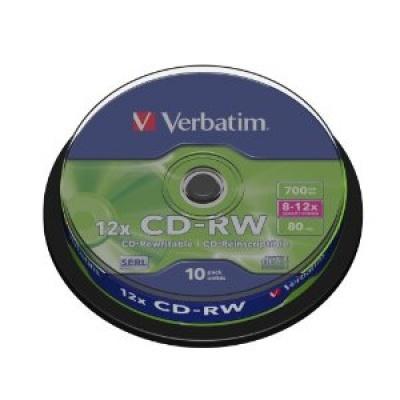 VERBATIM CD-RW(10-Pack)Spindle/8x-12x/High Speed/DLP/700MB