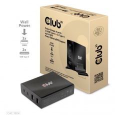 Club3D nabíječka, 4 ports, 2x USB Type-A 2x Type-C up to 112W, Power Delivery(PD) Support