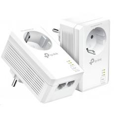 TP-Link TL-PA7027PKIT [Síťový adaptér Powerline AV1000 s průchozí zásuvkou a 2 gigabitovými porty]