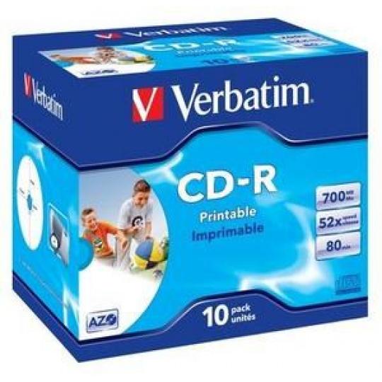 VERBATIM CD-R(10-Pack)Jewel/Printable/DLP/52x/700MB