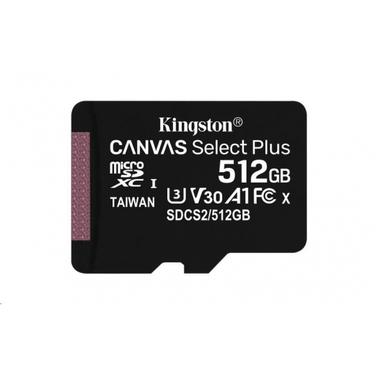Kingston 512GB micSDXC Canvas Select Plus 100R A1 C10 - 1 ks