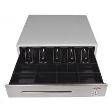Virtuos pokladní zásuvka C430C s kabelem 9-24V, kov. držáky, nerez panel/béžová