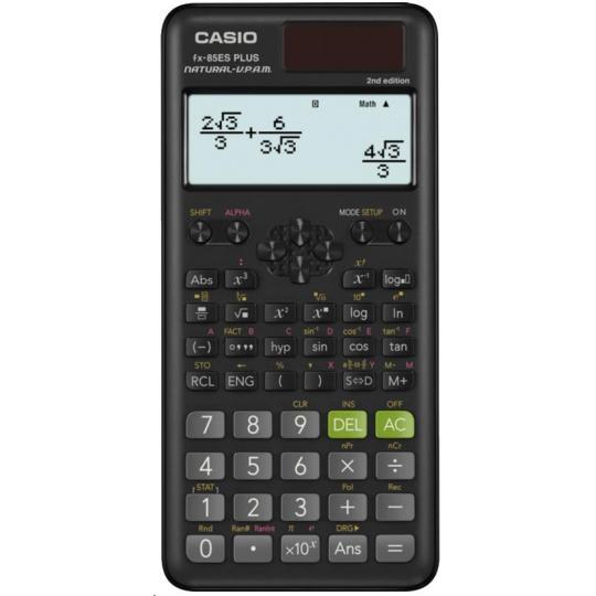 CASIO kalkulačka FX 85 ES Plus 2E, černá, školní, desetimístná