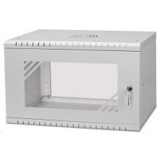 """LEXI 19"""" nástěnný rozvaděč Basic 6U, šířka 520mm, hloubka 450mm, skleněné dveře, bez zad, šedý"""