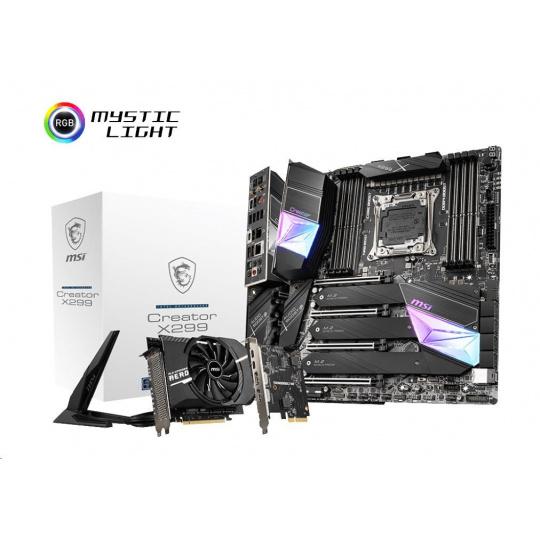MSI MB Sc 2066 Creator X299 (Intel X299, 8xDDR4, E-ATX, Wi-Fi) součástí balení M2 rozšiřující karta a thunderbolt karta