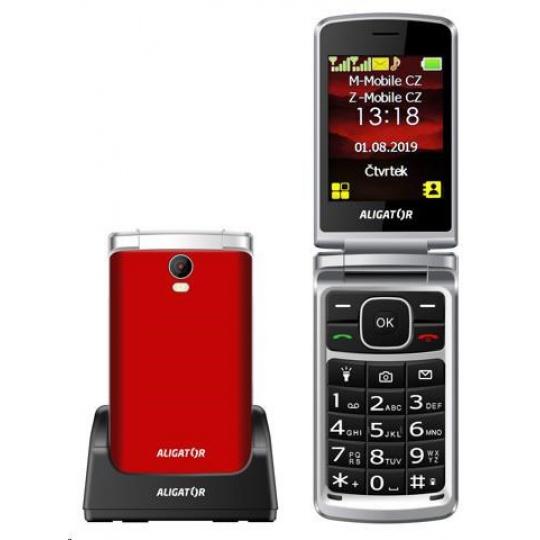 Aligator V710 Senior, Dual SIM, červeno-stříbrná + nabíjecí stojánek