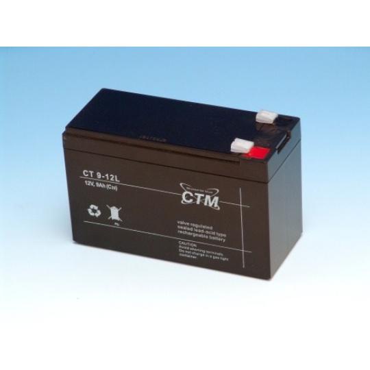 Baterie - CTM CT 12-9L (12V/9Ah - Faston 250), životnost 5let