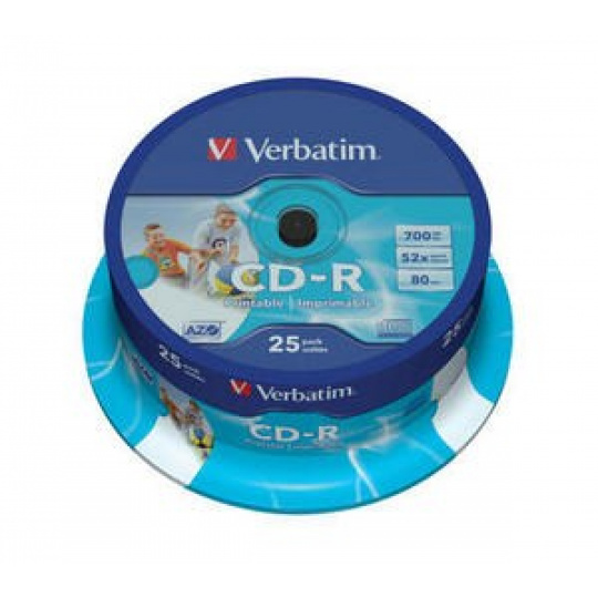 VERBATIM CD-R(25-Pack)Spindle/Printable/52x/700MB/DLP