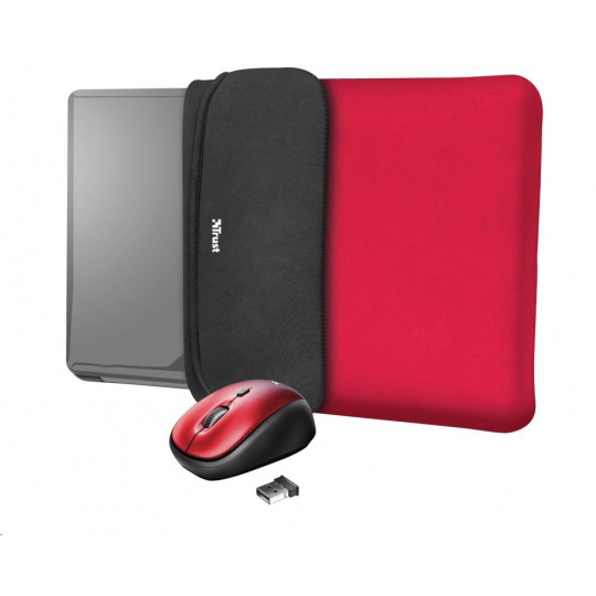 "TRUST myš + obal na notebook Yvo Reversible 15.6"" Laptop Sleeve and Wireless Mouse - Red"