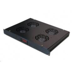 """19"""" ventilační jednotka, 4 ventilátory, LCD display, termostat, hloubka 350mm, černá"""