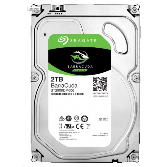 "SEAGATE HDD BARRACUDA 3,5"" - 2TB, SATAIII, 7200rpm, 256MB cache"