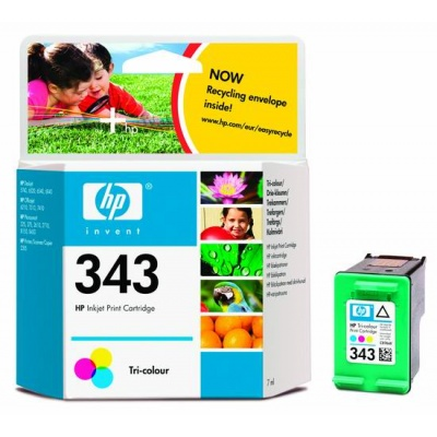 HP 343 Tri-color Ink Cart, 7ml, C8766EE