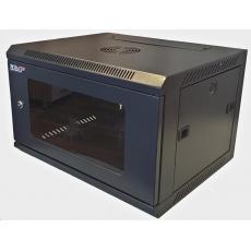 """LEXI 19"""" nástěnný rozvaděč 12U, šířka 600mm, hloubka 450mm, skleněné dveře, nosnost 60kg, dodáván rozložený, barva černá"""