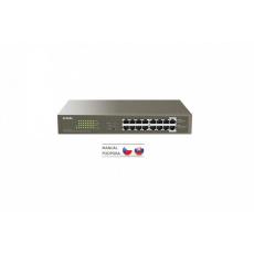 Tenda TEG1116P-16-150W - PoE AT Switch 135Watt, 16xRJ45 Switch s 16x 10/100/1000 Mbps PoE, Fanless, Kov